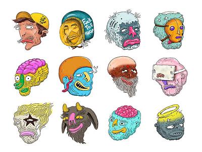 The Heads Sticker Series illustrations sticker heads