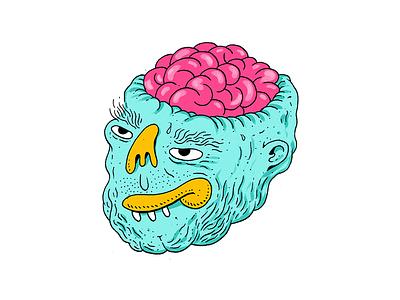 Mr. Brain sticker illustration brain