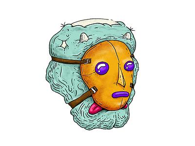 Mask sticker illustration monster mask