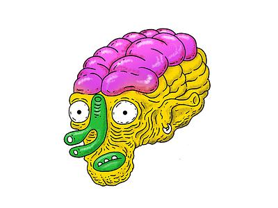 Alien sticker illustration yellow brain alien ufo