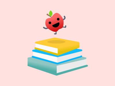 Health Education Programs: Illustration cheerful illustration school academic learning books apple program education health