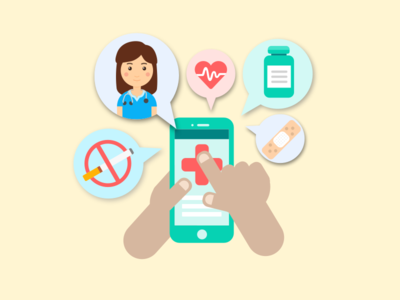 Mobile Health illustration medicine medical doctor technology tech phone mobile mhealth healthcare health