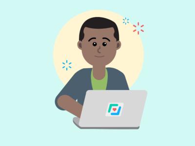 Person using laptop character design character illustration designer developer tech computer laptop