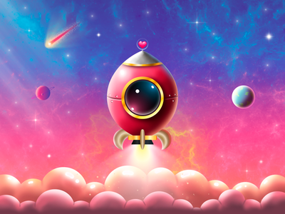 SPACE 🪐⭐ starship planets stars space vector gradient game cute concept colorful illustration design dribbble art