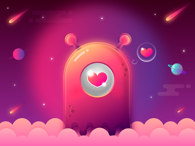 MONSTER 👾💖 color colorfull vector art comet planets love space monster character gradient illustration colorful vector game cute concept design dribbble art