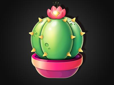 CACTUS 🌵🌺 sticker nature icon graphic design pot flower nadiavalhof logo illustration gradient cute design concept dribbble art game cacti cactus