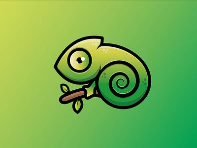 CHAMELEON LOGO animal branding graphic design ui gradient cute design concept dribbble logotype logo chameleon