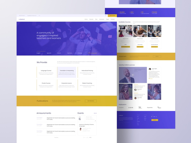 Lingui - Language School template page builder joomla business typography web design web ux ui design