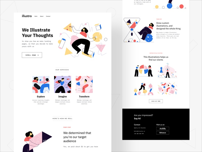 Illustro - Landing trendy creative business web landingpage minimal branding agency landing page character design illustration clean 2019 trends web design ux ui typography design