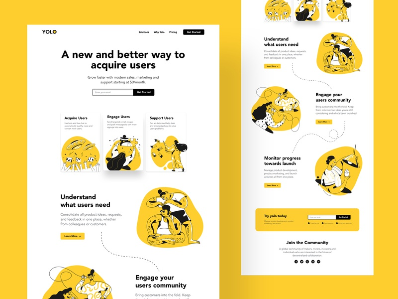 YOLO - Landing Page trendy minimal creative product characters marketing 2019 trends illustration landing page website business web typography web design ux ui design