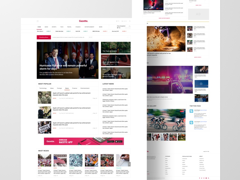 Gazette - Joomla News Template blog magazine news template page builder joomla website business web typography web design ux ui design
