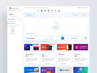 Joomla 4 - Extensions Installer cms interface product design product user experience admin template admin dashboard joomla typography web ux ui design