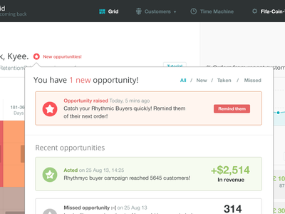 Opportunities stats blue grey green big data data application interface ui ux retentiongrid designer