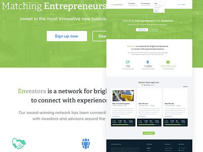 Crowd funding network crowd funding investment green white ui web design envestors startups icons interface menu data