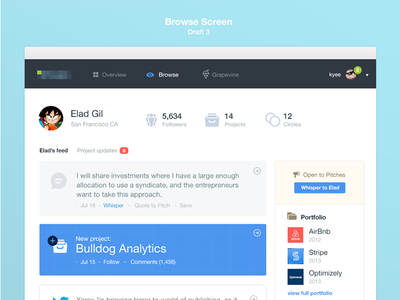 Browse ycombinator ui blue interface dashboard white clean analytics investors angel startups tech