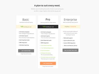 Pricing pricing design interface ui plans packages orange grey website startup designer