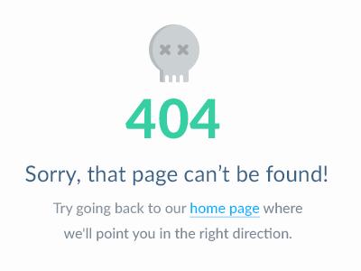 404 error data interface ui web design clean marketing site grey blue green lato 404