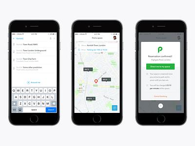 JustPark app green modal search map iphone justpark interface design mobile app ux ios ui mobile