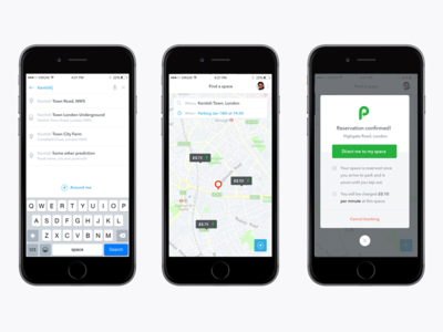 JustPark app green modal search map iphone justpark interface design mobile app ux ios ui mobile