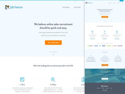 Jobheron whitespace clean startup london blue design website landing jobheron