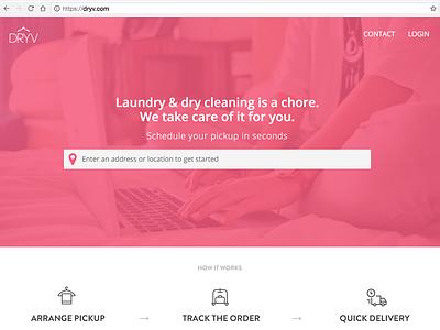DRYV landing site design freelance designer website mobile app dry cleaning dryv san francisco landing page design startup