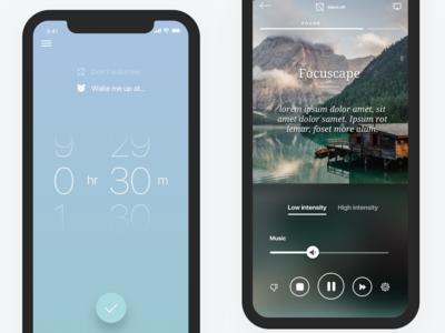 Pzizz 2.0, Focus module pzizz designer sleep focus playback iphone x iphone apple app ux ui user interface mobile