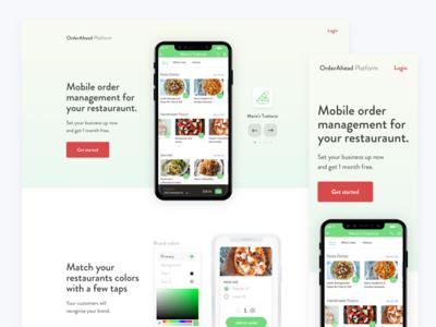 Order ahead platform ux ui platform toronto restaurant landing page interface mobile app