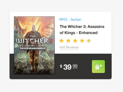 Game cart ecommerce green grey white helvetica simple clean icon cart rating geralt of rivia