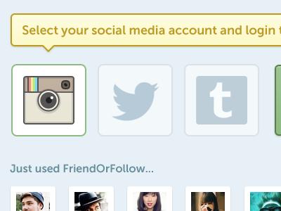 Select your social media account friendorfollow blue ui design website design twitter application interface