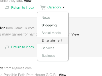 Dropdown user interface ui unrollme green tooltip web app application teal helvetica grey whitespace icons