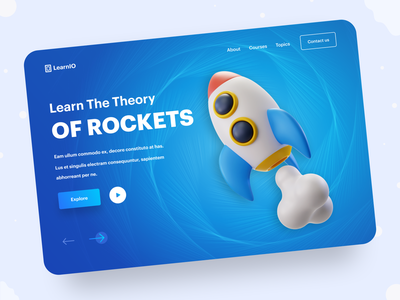 LearnIO Header Exploration online course knowledge rockets user interface branding creative figma layout colorful illustration 3d typography gradient web design website landing page hero image header ux ui