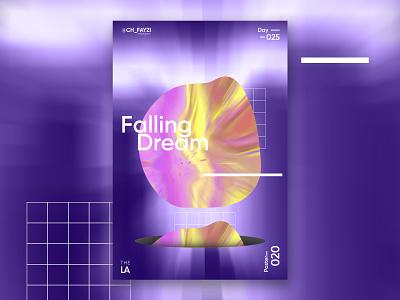 Falling Dream night dream design photoshop modern illustrator illustration poster art typography poster poster a day gradiant