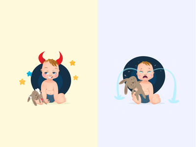 Baby N Devil vector smiley smile cry new character design challenge character uiux ui game art art gaming devil baby game