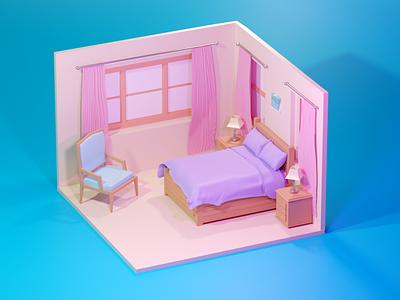Bedroom render isometric abstract colors home 3ddesign 3dart art bedroom room house minimal illustration design 3d