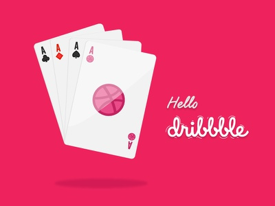 Hello dribbble illustration debut cards playing game pink deck card hello dribbble