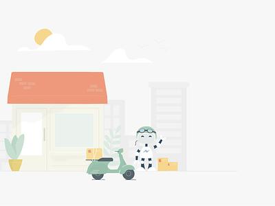 Ecommerce chatbot website flat illustration branding design ux robot shop product chatbot ecommerce
