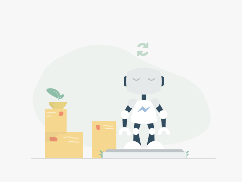 Sync your products sync chatbot shop robot product illustration ecommerce