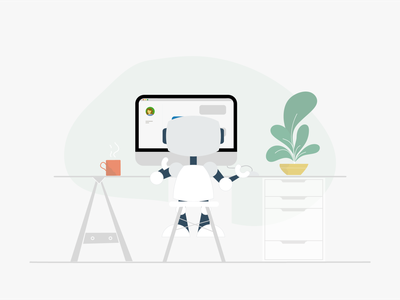 Your chatbot is ready!! ready branding design shop robot product illustration ecommerce chatbot