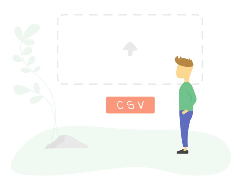 Upload your CSV file app ui ux flat website shop robot branding product illustration upload lead