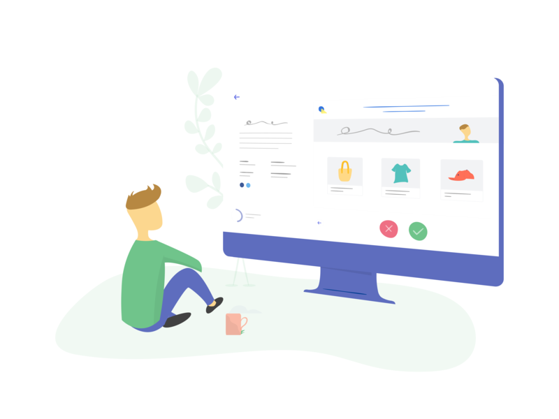 Start processing leads app ui ux flat website design lead illustration branding