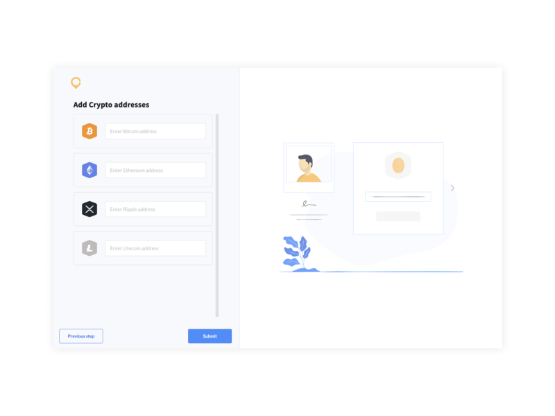 4. Add your crypto addresses crypto currency branding design ui ux website illustration