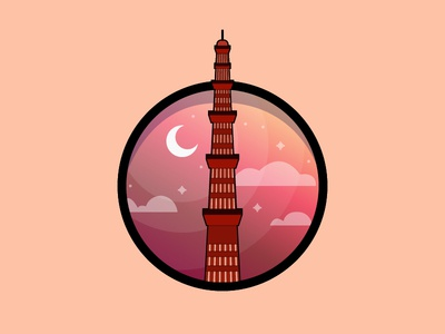 Creative Illustration culture heritage qutbminar angle colours ui ux creativity design art illustrations