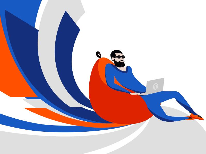 Magento dinarys man article flat vector illustration magento
