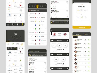 Bookbreakrs website android ios mockups interface application football predictors football bets mobile app uiux soccer bookbreakrs