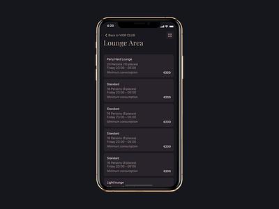 lounge booking process app interaction dinarys dinarys dark theme ui trend nightclub nightlife mobile app ux animation seats gold booking process lounge plan interaction