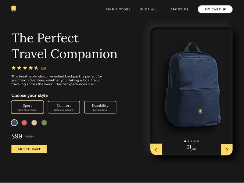 Product Display Page web design travel backpack ui design