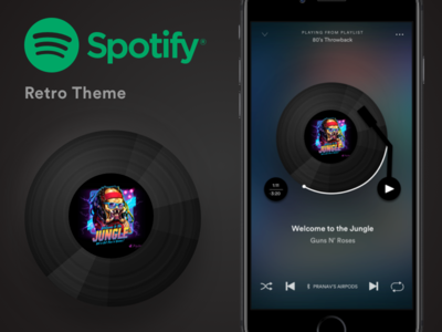 Spotify Retro Theme Design vinyl record music spotify retro ios app design design app design ios 80s style