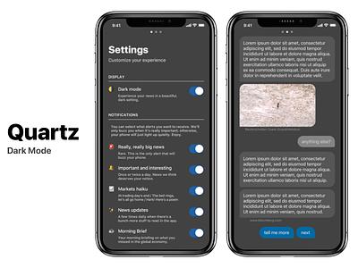 Quartz Dark Mode dark app dark mode redesign ios app design ios news app news quartz