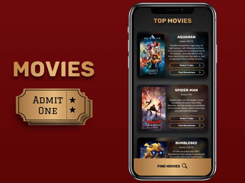 Movies Dribbble theater film ui design spiderman movie ios app design app design ios