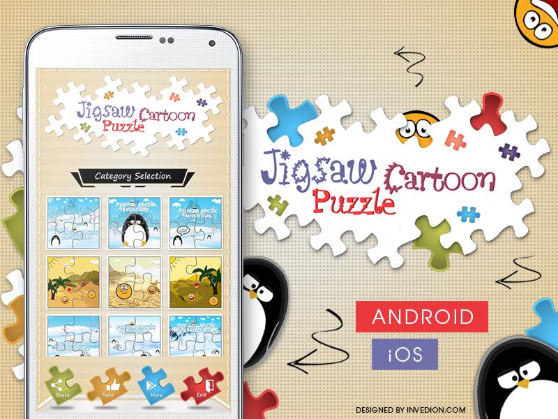 😊 Jigsaw Cartoon Puzzle Android & iOS Mobile App ios ipad mobile app android iphone puzzle invites invitation kids cartoon children jigsaw puzzle